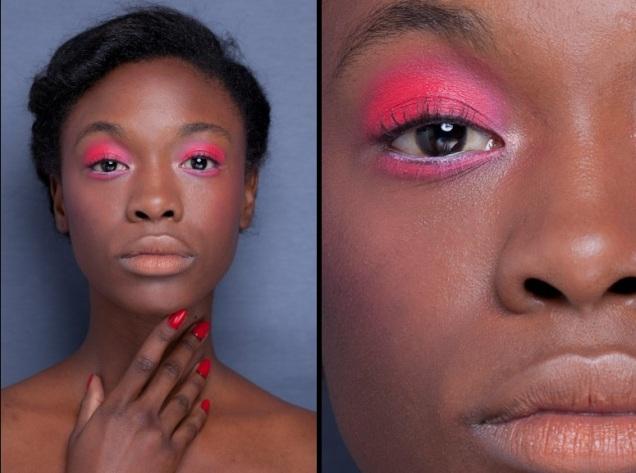 Os tons fluorescentes ficam ainda mais brilhantes nos tons de pele mais escuros. Aposte na sombra rosa esfumada até a linha do côncavo e rente aos cílios inferiores. Desfile R.Rosner